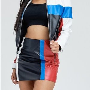 Dresses & Skirts - Color block pleather skirt